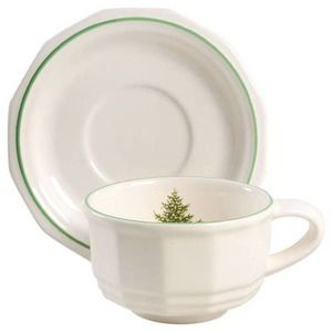 Set of 6-Christmas Heritage Tea Cups and Saucers